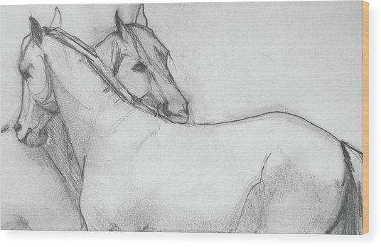 Wood Print featuring the drawing Dual Massage Sketch by Jani Freimann