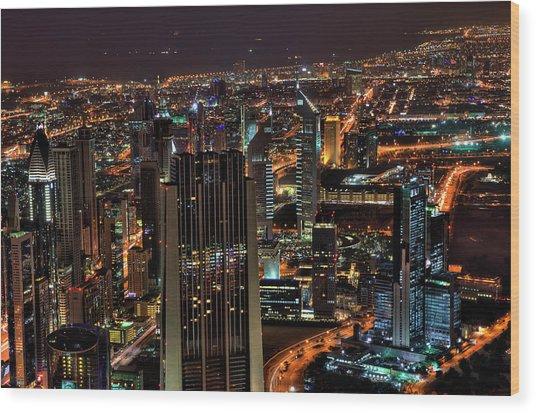 Dubai At Night Wood Print