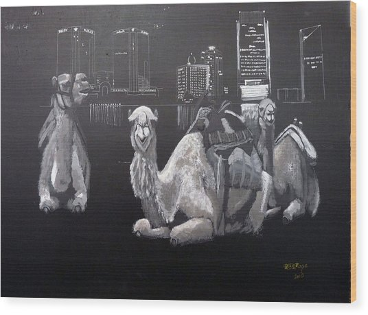 Dubai Camels Wood Print