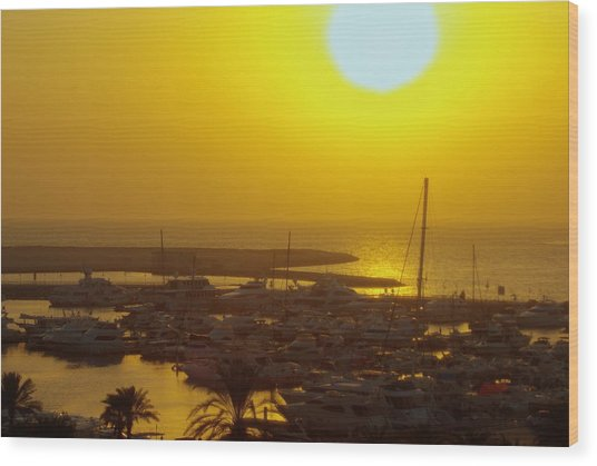 Dubai Marina Jumeirah Sunset Wood Print by Iain MacVinish