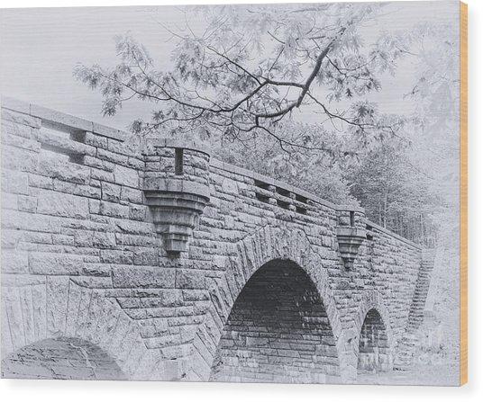 Duck Brook Bridge In Black And White Wood Print
