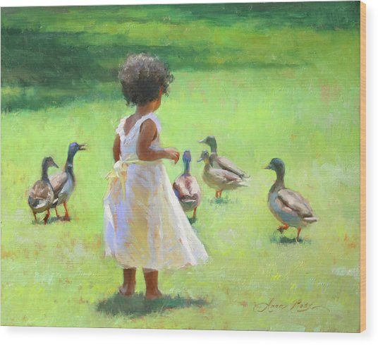 Duck Chase Wood Print