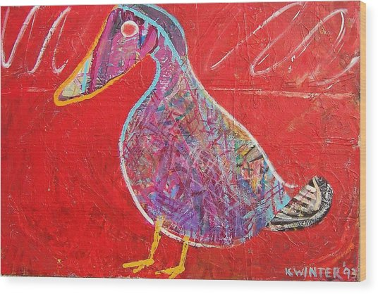 Duck Wood Print by Dave Kwinter