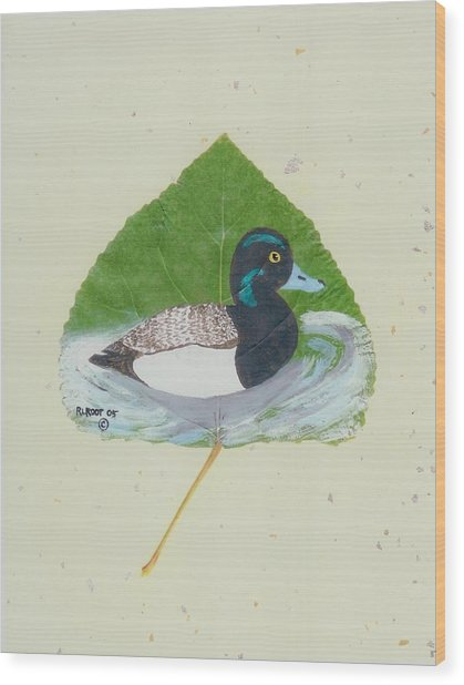 Duck On Pond #2 Wood Print