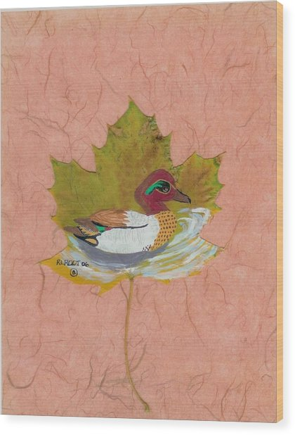 Duck On Pond Wood Print