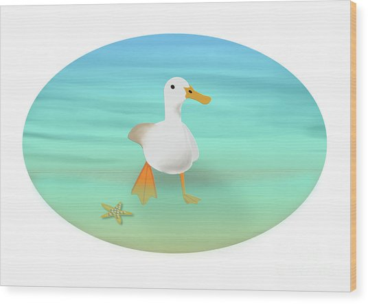 Duck Paddling At The Seaside Wood Print