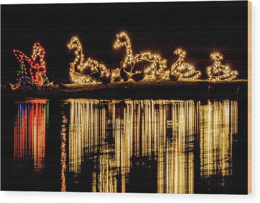Duck Pond Christmas Wood Print