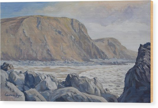 Wood Print featuring the painting Duckpool Boulders by Lawrence Dyer