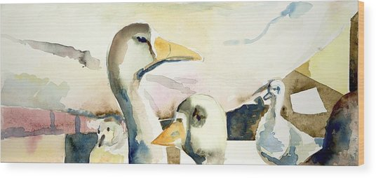 Ducks And Geese Wood Print