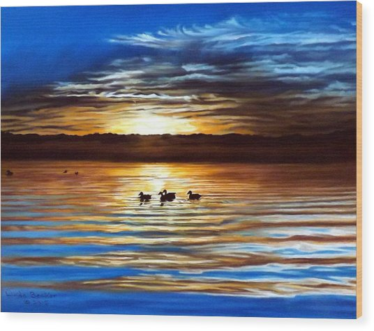Ducks On Clear Lake Wood Print