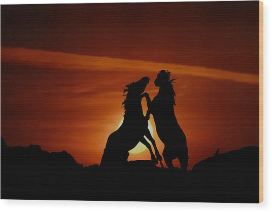 Duel At Sundown Wood Print