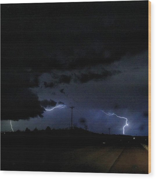Dueling Lightning Bolts Wood Print