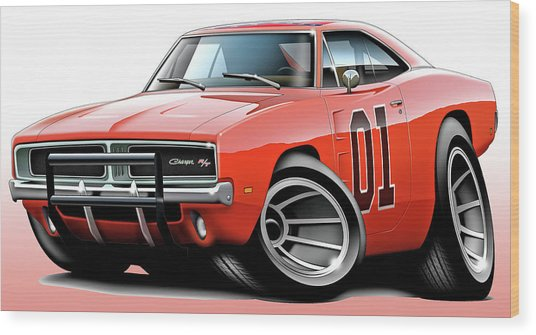 Dukes Of Hazzard General Lee Wood Print by Maddmax