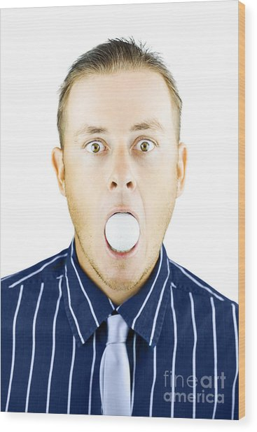 Dumbfounded Man Silenced By A Golf Ball Wood Print