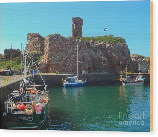 Dunbar Castle And Harbour Wood Print