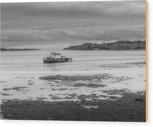 Dundrum The Old Boat Wreck Wood Print