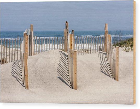 Dune Fence Landscape Wood Print