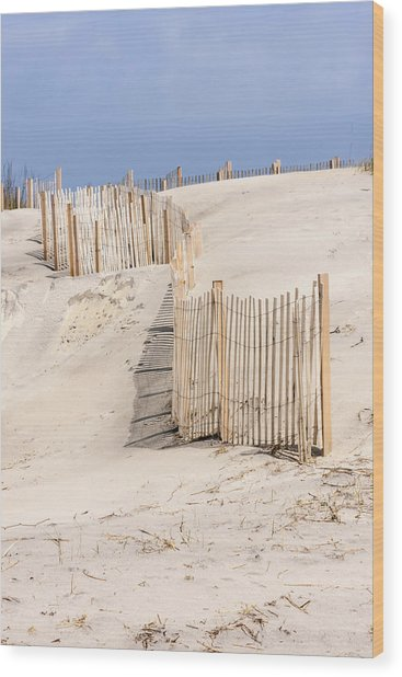 Dune Fence Portrait Wood Print