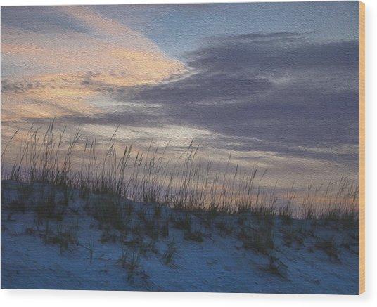 Dune Grass Blue Wood Print