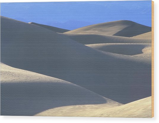 Dunes And Blue Mountains Wood Print by John Farley