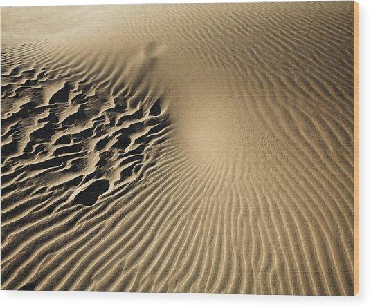 Dunes Footprints Wood Print