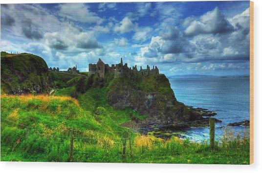 Dunluce Castle Wood Print by Kim Shatwell-Irishphotographer