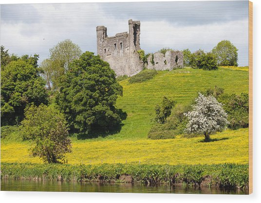 Dunmoe Castle Wood Print by Peter McCabe