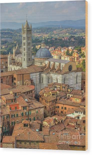 Wood Print featuring the photograph Duomo Di Siena by Spencer Baugh