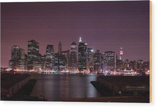 Dusk At Brooklyn Port Wood Print