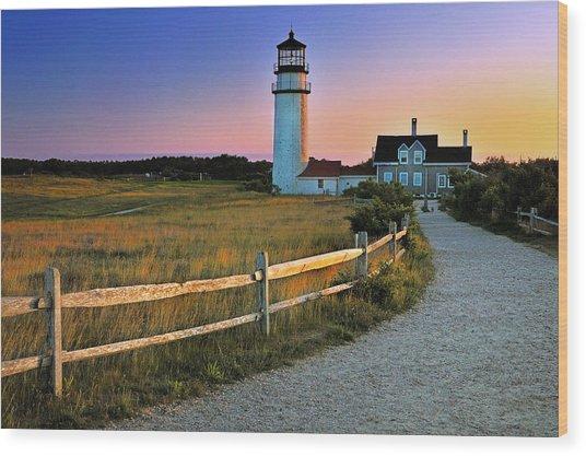 Dusk At Cape Cod Lighthouse Wood Print