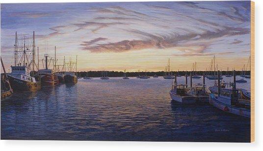Dusk At Stonington Harbor Wood Print by Bruce Dumas