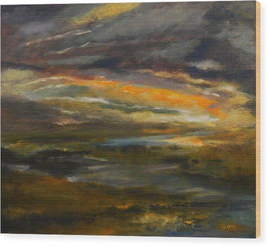 Dusk At The River Wood Print