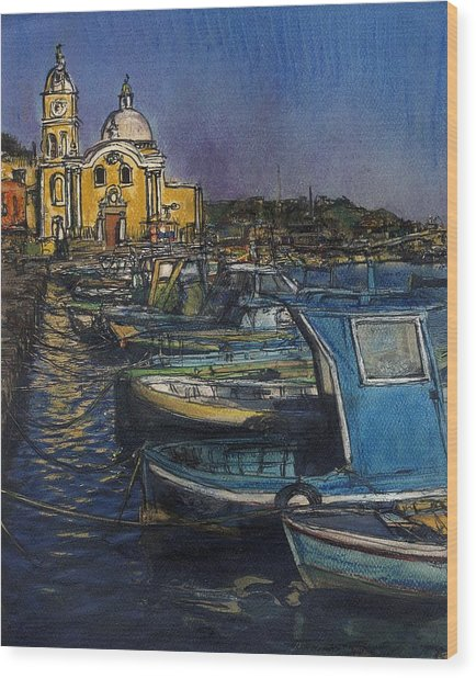 Dusk Falls Over Procida Fleet Wood Print