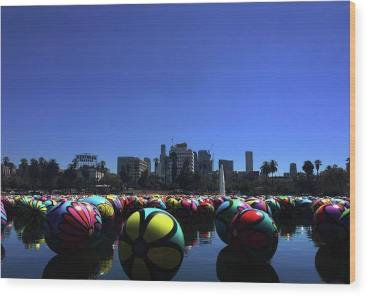 Wood Print featuring the photograph Dusk Finds The Spheres Of Macarthur Park by Lorraine Devon Wilke