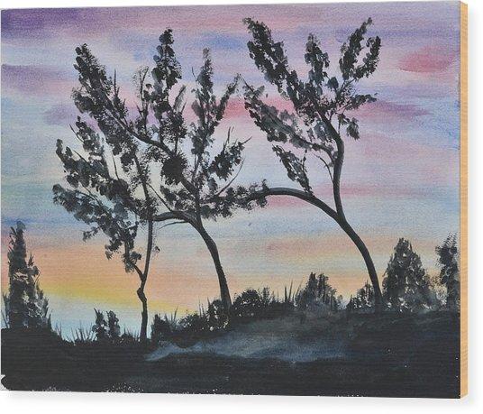 Dusk Landscape Wood Print