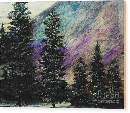 Dusk On Purple Mountain Wood Print