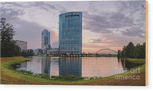 Dusk Panorama Of The Woodlands Waterway And Anadarko Petroleum Towers - The Woodlands Texas Wood Print