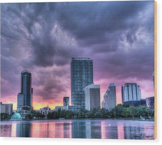 Dusky Downtown Orlando, Florida Wood Print