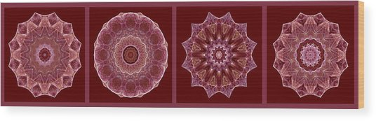 Dusty Rose Mandala Fractal Panel Wood Print
