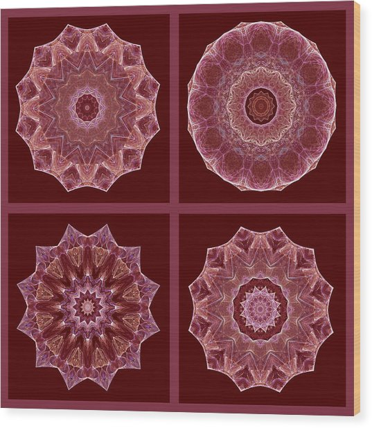 Dusty Rose Mandala Fractal Set Wood Print