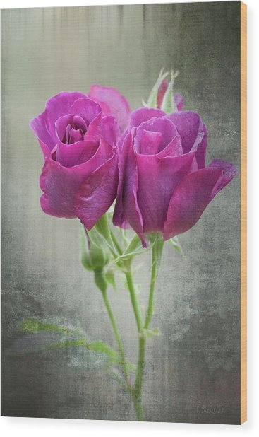 Dusty Roses Wood Print