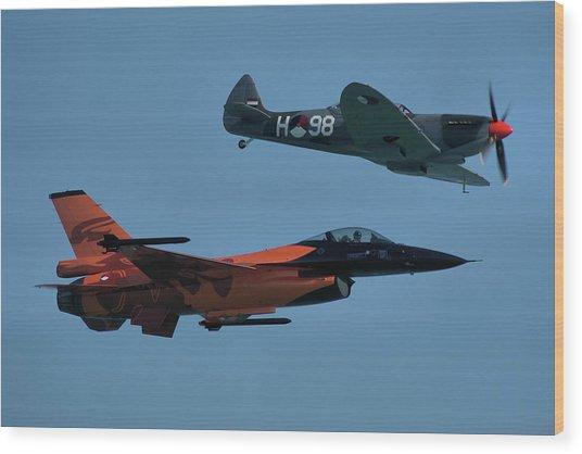 Dutch F-16 And Spitfire Wood Print