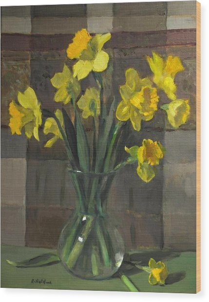 Dutch Master Narcissus In An Hourglass Vase Wood Print