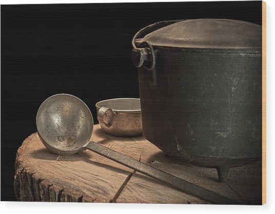 Dutch Oven And Ladle Wood Print