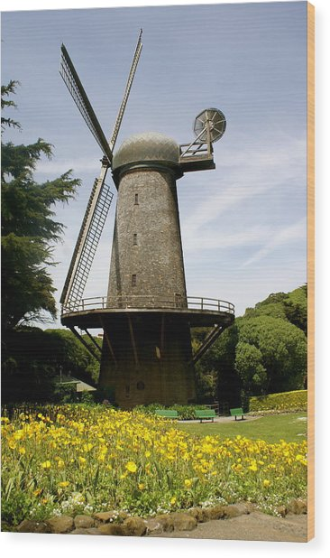 Dutch Windmill Wood Print by Sonja Anderson