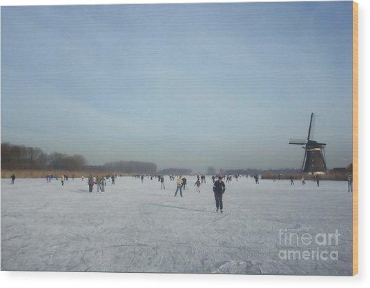 Dutch Winter Landscape Wood Print