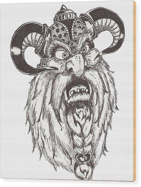 Dwarf Berserker Wood Print by Law Stinson