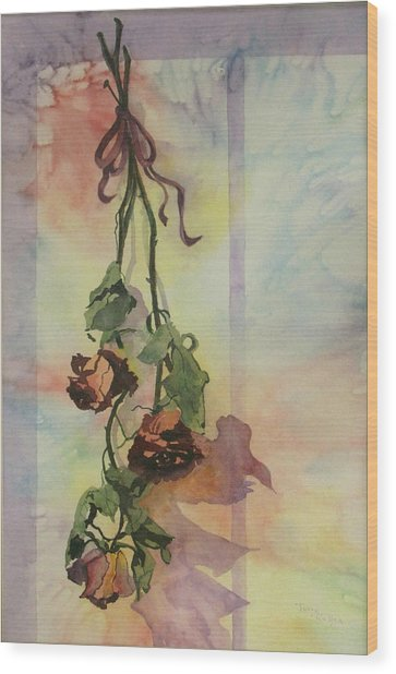 Dying Roses Wood Print