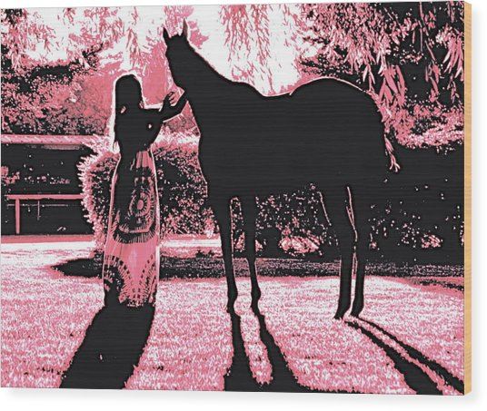 Dylly And Lizzy Pink Wood Print