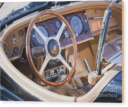 E-type Jaguar Dashboard Wood Print